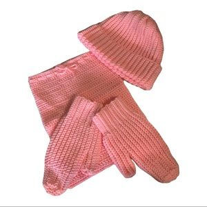 Handmade Knitted Winter Hat, Neck Warmer, & Gloves Pink -Adult or Teen